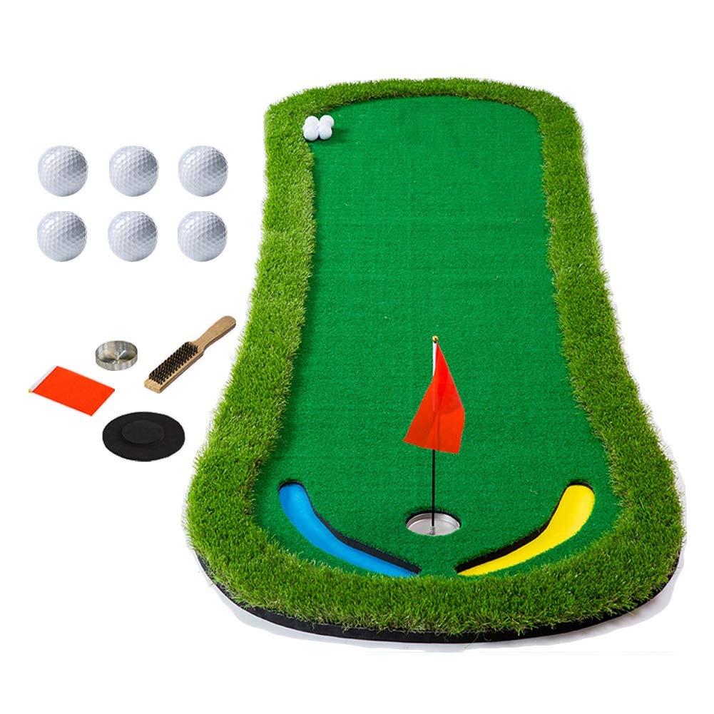 QIANDA ゴルフパッティング グリーンマット スロープデザイン ポータブル練習用ブランケット EVA裏地 簡単収納 屋外屋内用 350x95cm  A B07KSDY7Q9