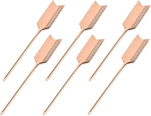YES Time Stainless Steel Arrow Motif Martini Cocktail Picks for Fruit,Cocktail,Party,Wedding Set of 6 (Rose Gold)