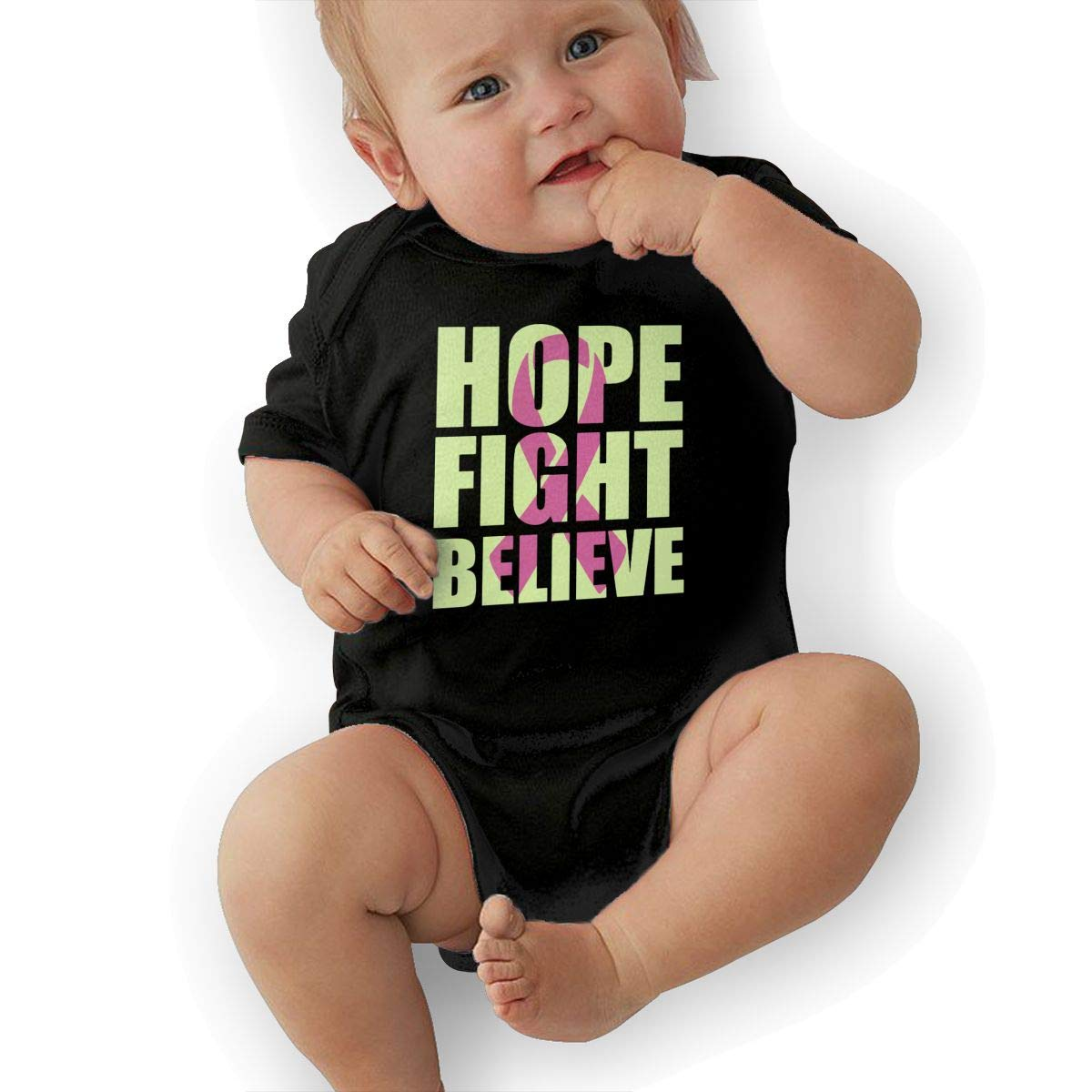 Cancer Hope Fight Believe Printed Infant Baby Boy Girl Short-Sleeved Jumpsuits Playsuit Outfits