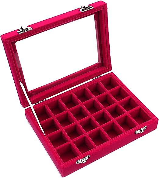 Caja organizadora Ivosmart con 24 secciones de terciopelo y tapa de vidrio para guardar joyas, con exhibidor de anillos o bandeja para aretes., cartón, Rosa, 24 Section (Pink): Amazon.es: Juguetes y juegos