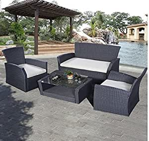 SKB Family 4 pcs Patio Wicker Rattan Seat Cushioned Set
