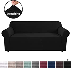 H.VERSAILTEX High Stretch Sofa Cover 1 Piece Couch Shield Machine Washable Stylish Furniture Cover/Protector with Spandex Jacquard Checked Pattern Fabric (Sofa, Black)