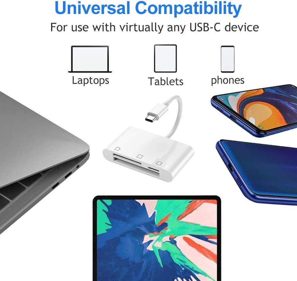 Linux 3 in 1 USB-C Type-C to CF SD TF Micro SD Memory Card Reader Hub Adapter Compatible with Windows 7//8//10 OS Android