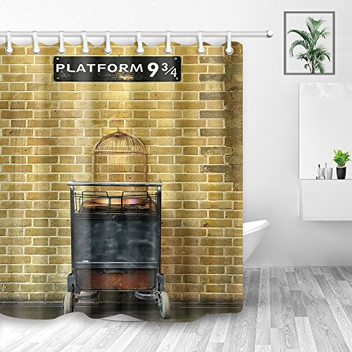 Platform 9 3/4 at Station Backdrop Shower Curtain, Bird Cage on Trolley Against Brick Wall to Magical World, Mildew Resistant Fabric Shower Curtains for Kids Bathroom, Bath Curtain Hooks,70X70in