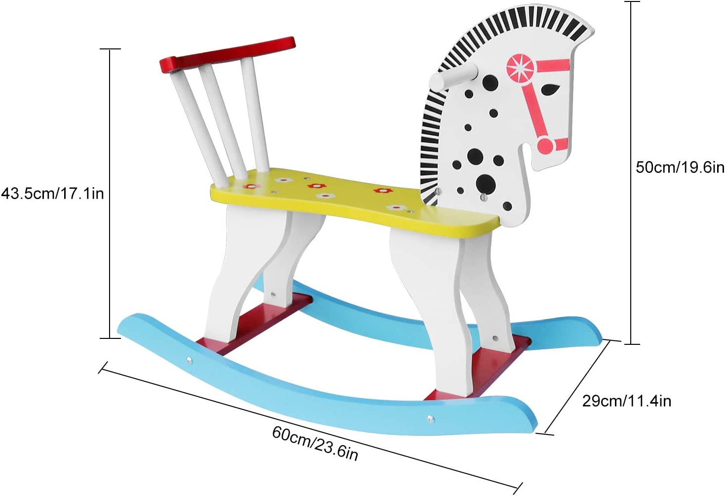 SYNTECSO Wooden Rocking Horse Kids Ride On Toys Birthday Gift for Boys and Girls Rocking Horse