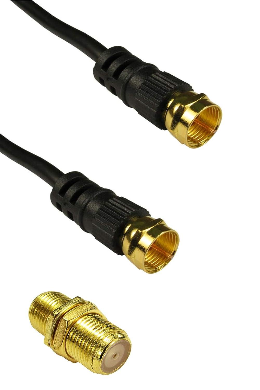 Cable coaxial de satélite Macho a Macho, Negro, 20 m de Largo con ...