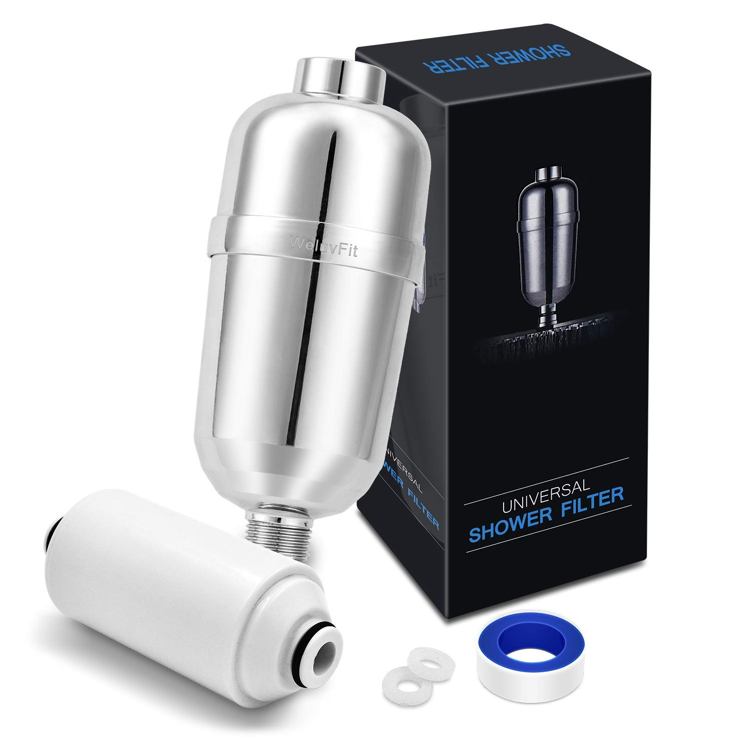 Shower Filter Hard Water Softener - 16 Stage High Output Universal Replacement Cartridges with Vitamin C Shower Filter - Removes Chlorine Fluoride Heavy Metals and Other Sediments