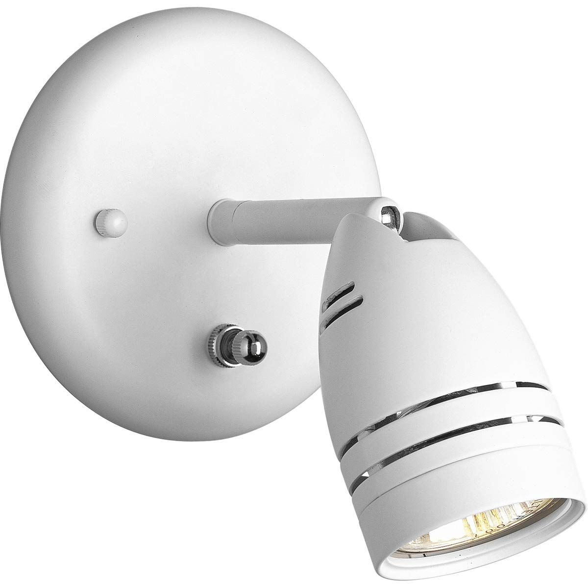 Progress Lighting P6154-30WB 1-Light Wall Mount Directional with On/Off Switch, White