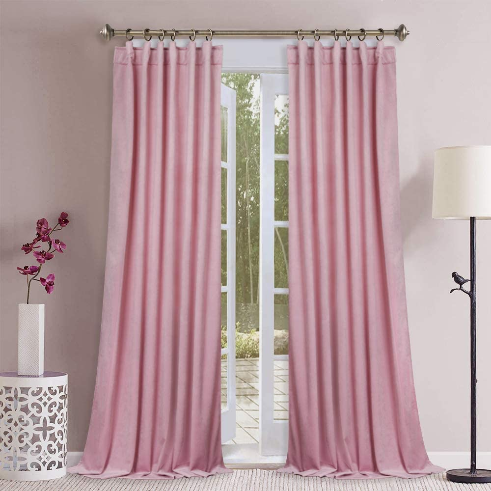 """Thick Luxury Pink Velvet Curtains - 120"""" Extra Long Heavyweight Room Darkening Velvet Drapes with Rod Pocket & Back Tab for Daughters Room, W52 x L120, 2 Pcs W52""""x L120"""" Pink"""