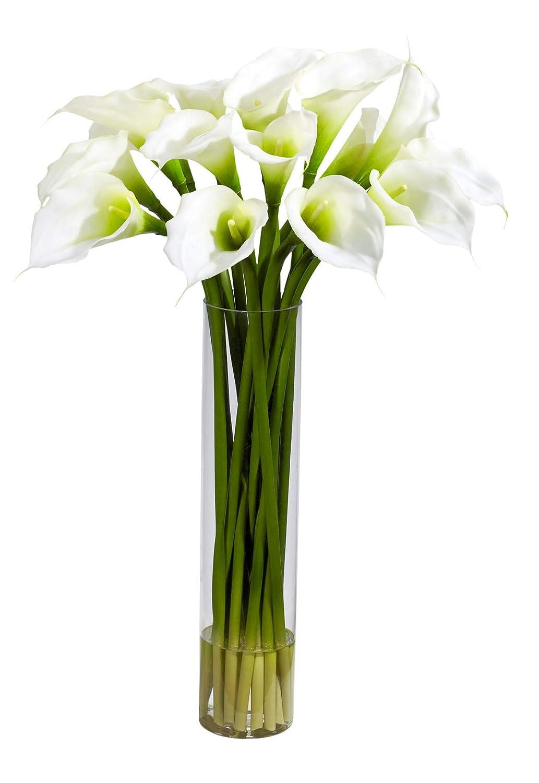 造花 – クリームカラーリリー 円柱フラワーアレンジメント B07KVCHS1Q