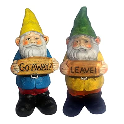6.5 Inch Go Away Gnome Leave Anti Social Garden Gnomes Cement Figures - Set of Two : Garden & Outdoor