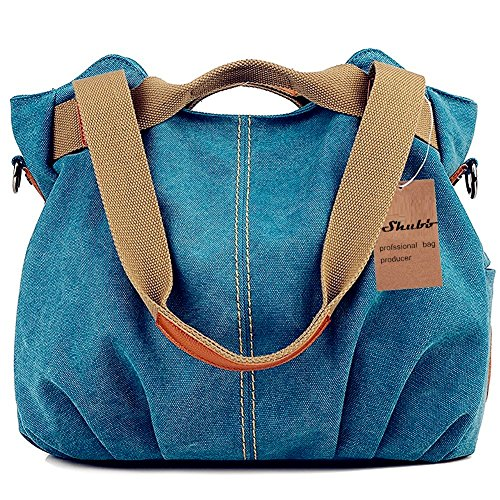 Women Fashion Canvas Casual Tote Bags Hobo Shoulder Bag Blue - 6
