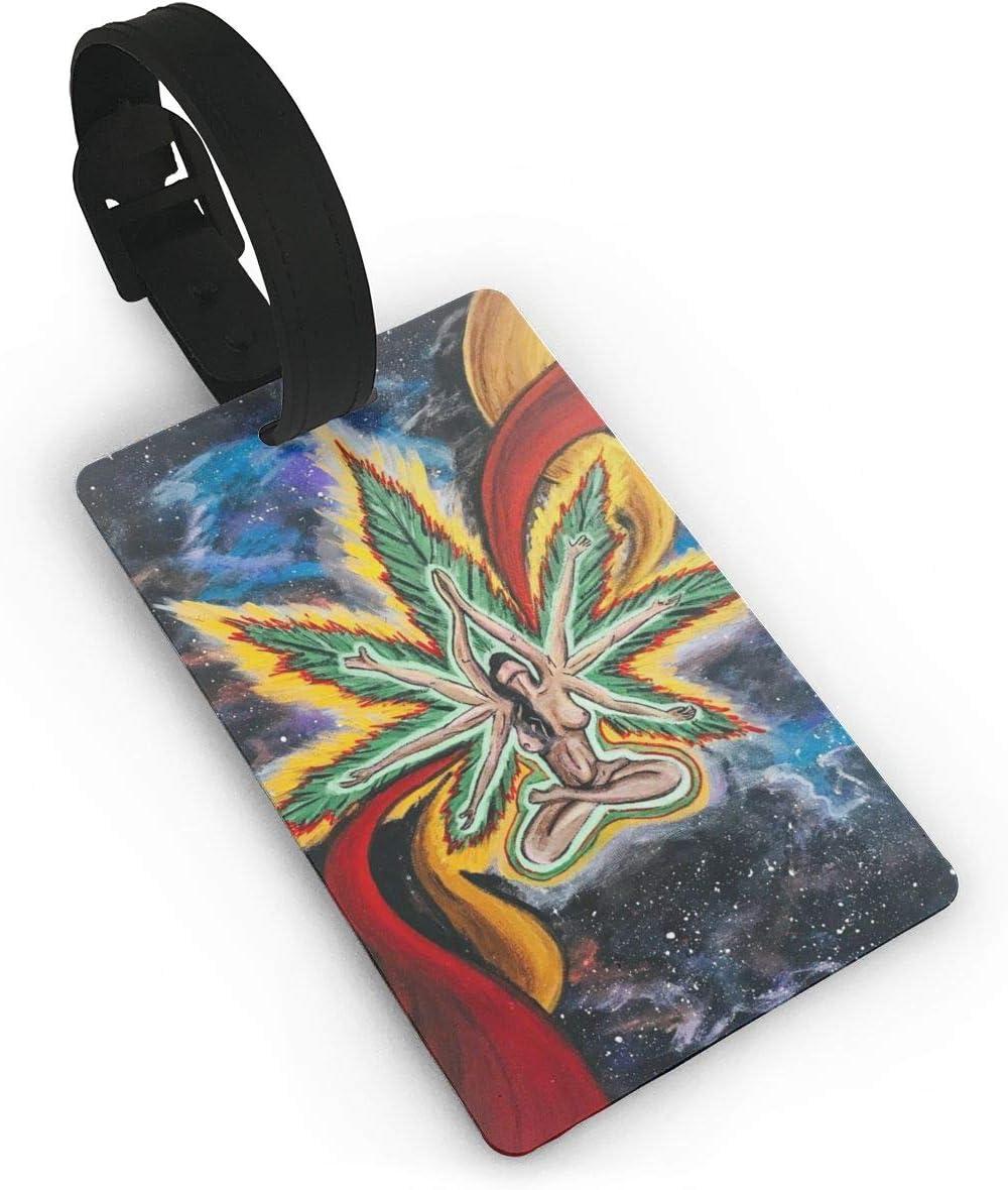 Etiquetas de Equipaje de Marihuana psicodélicas Verdes de Belleza para Maletas Correa de Mano Maleta de Viaje Bolsa Etiqueta de identificación Etiqueta