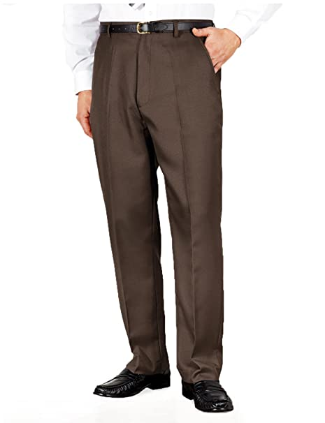 ef71fdc9289 Mens Quality Formal Smart Casual Work Trouser Pants Home Office Brown 32W x  27L