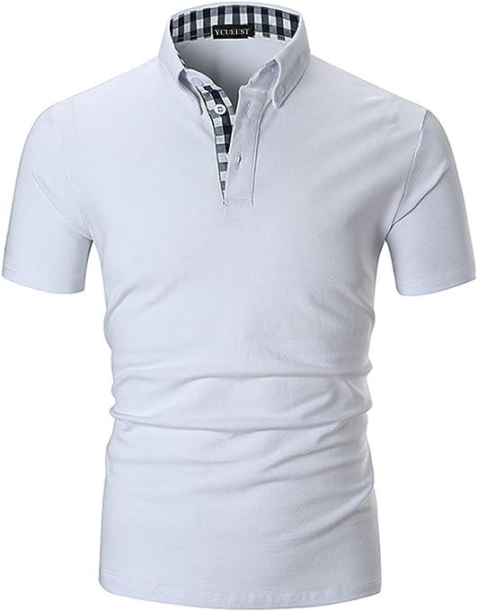 TALLA M. YCUEUST Polo de Manga Corta para Hombre Polos Premium Algodón Camisetas