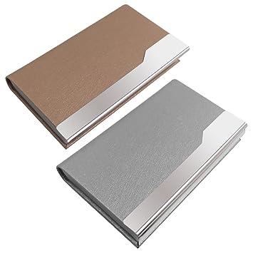 2 piezas de tarjetas de visita profesionales, SENHAI de acero inoxidable + PU tarjeta de cuero con cierre magnético para hombres y mujeres - Plata, ...