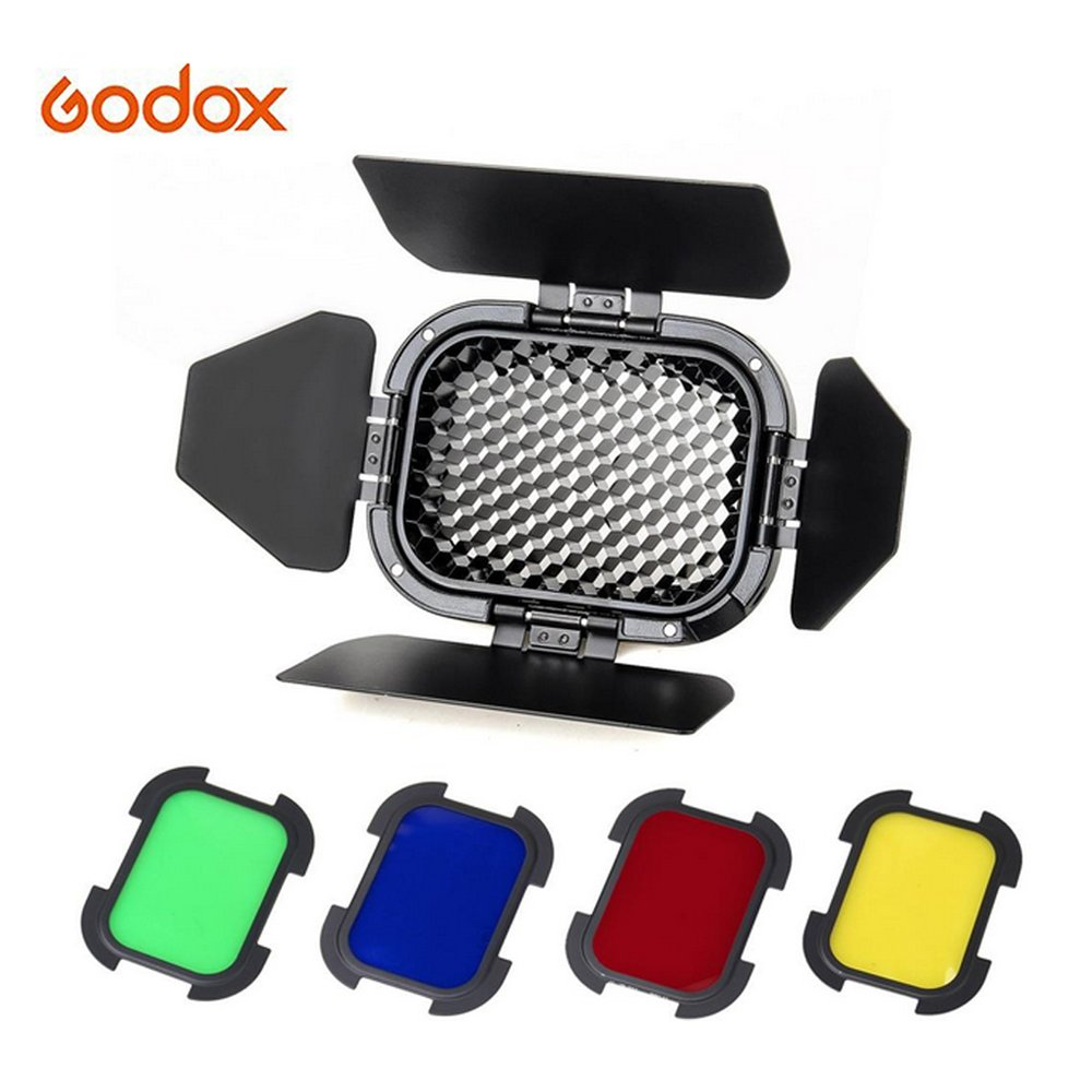 Godox BD-07 Barn Door with Detachable Honeycomb Grid and 4 Color Filters for Godox AD200 Pocket Speedlite Fresnel Flash Head by Godox