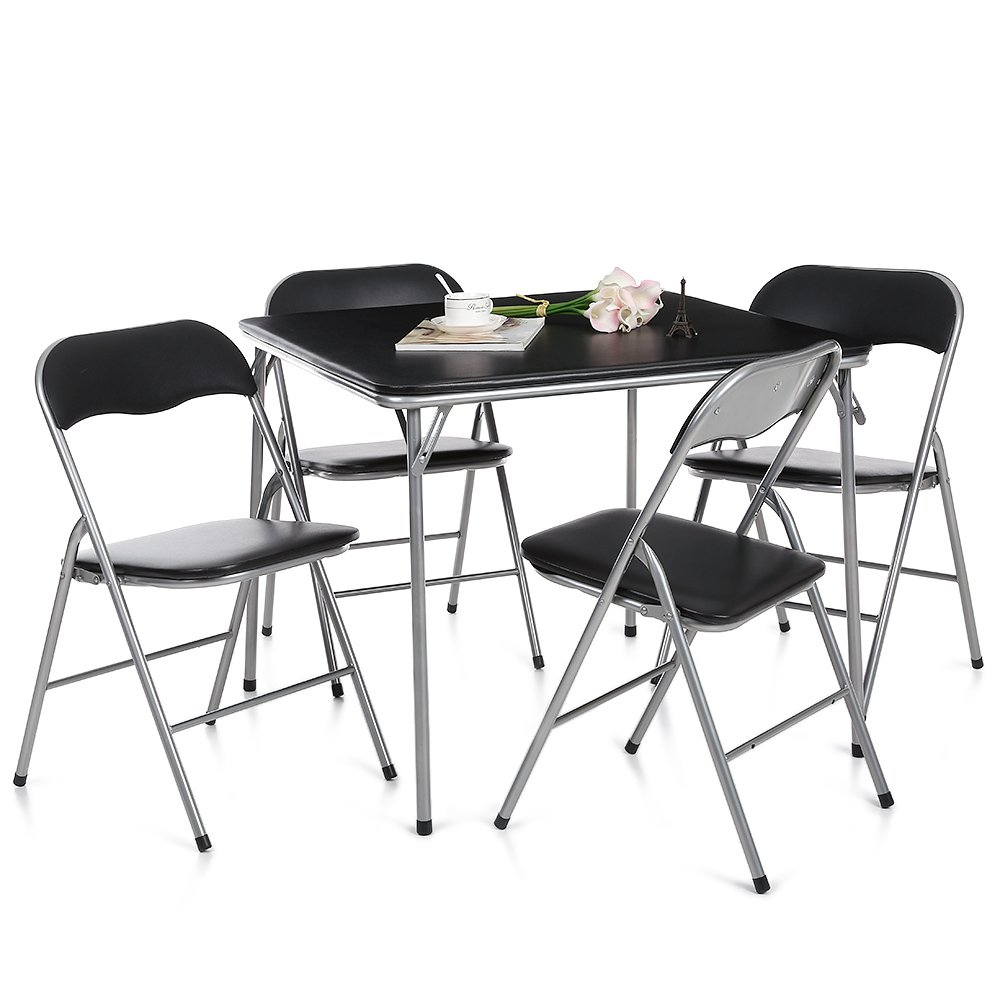 IKayaa Dining Table And 4 Chairs Set Garden Furniture Kitchen Camping Picnic Amazoncouk Home