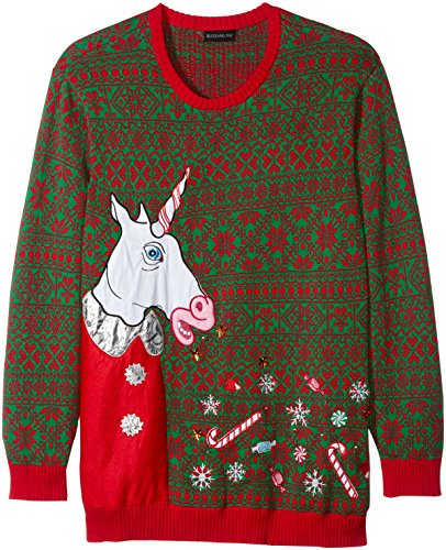 Blizzard Bay Men's Big and Tall Vomitting Unicorn Light up Ugly Christmas Sweater, Red/Green, (Big And Tall Christmas Sweaters)
