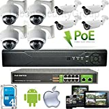 USG 8 Camera Security System 1080P PoE IP CCTV Kit * 8x 1080P Sony DSP 2.8-12mm PoE IP Dome & Bullet Cameras + 1x 8 Channel 1080P NVR + 1x Gigabit PoE Network Switch + 1x 4TB HD * Remote Phone Viewing