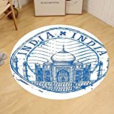 Gzhihine Custom round floor mat Indian Taj Mahal in India on White Background Emblem Like Hand Drawn Ink Bedroom Living Room Dorm Blue and White