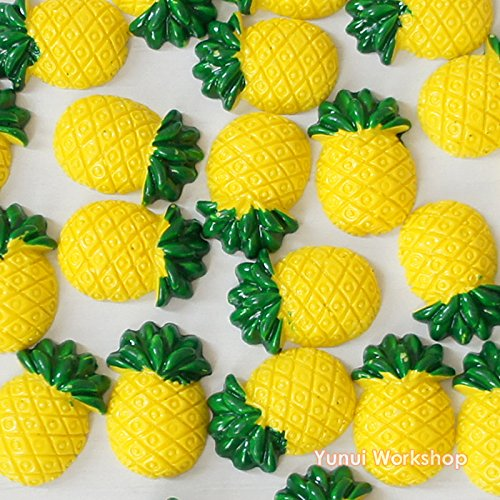 (30pcs) Pineapple 18mmX26mm Flat Back Deco Decoden ABS Resin Cabochons Embellishments Scrapbooking Craft Art DIY