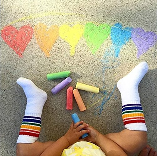 6 Pairs Unisex Cotton Knee High Calf Stripe Athletic Tube Socks for Baby, Girls, Boys & Toddler (S (0-2y)) by Sanwit (Image #5)