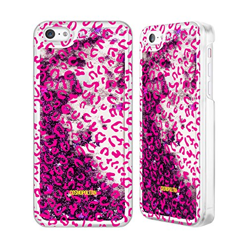 Official Cosmopolitan Pink Leopard Animal Skin Patterns Purple Liquid Glitter Case Cover for Apple iPhone 5c