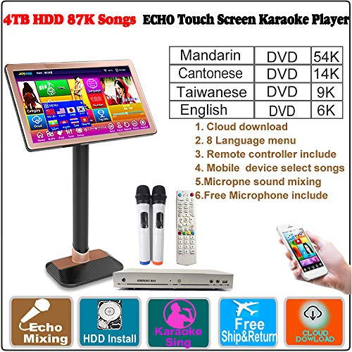 (4TB HDD 87K,Chinese (Mandarin,Taiwanese,Cantonese),English Songs,22''Touch Screen Karaoke Player,Microphone Port,ECHO Mixing, Cloud Download,Remote Controller,Free Microphone Include, 觸摸屏,卡拉OK 播放器)