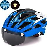VICTGOAL 自転車 ヘルメット 大人用 LEDライト付きサイクルヘルメット 磁気ゴーグル 防虫ネット ロードバイクヘルメット 超軽量 高剛性 サイクリングヘルメット サイズ調整可能 男女兼用 自転車ヘルメット57-61cm