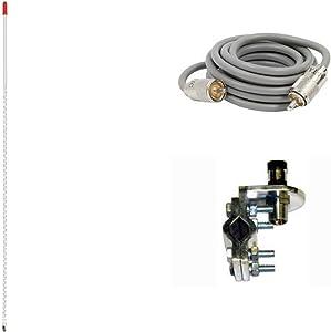 Pro Trucker Single 3' 750 Watt CB Radio Antenna Kit with Mirror Mount, Antenna Stud and 9' Coax Cable - White