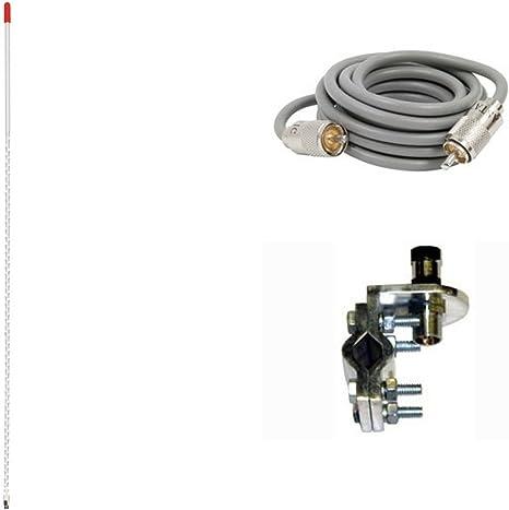 ARIES 10813 3` Foot CB Radio Antenna KIT 500 WATT Mirror Mount and Coax