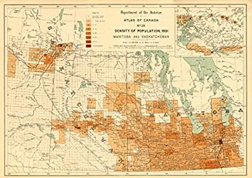 Amazoncom CANADA POPULATION DENSITY Manitoba And - Old map of canada