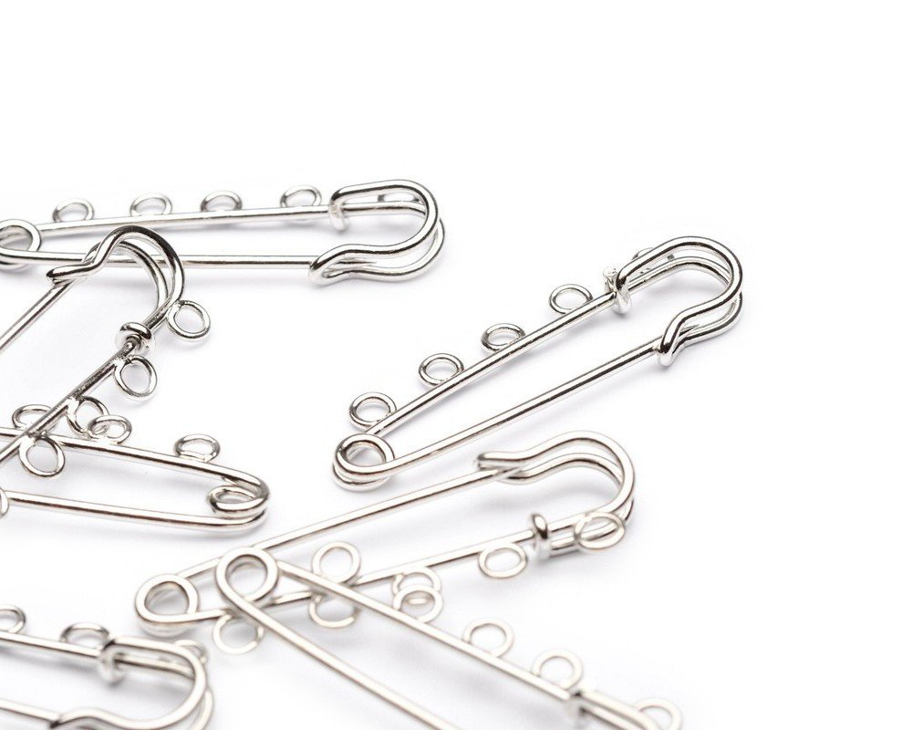 Beads Unlimited 50 mm Silver Plated Metal Kilt Pin Hooks, Pack of 10 KP555-10