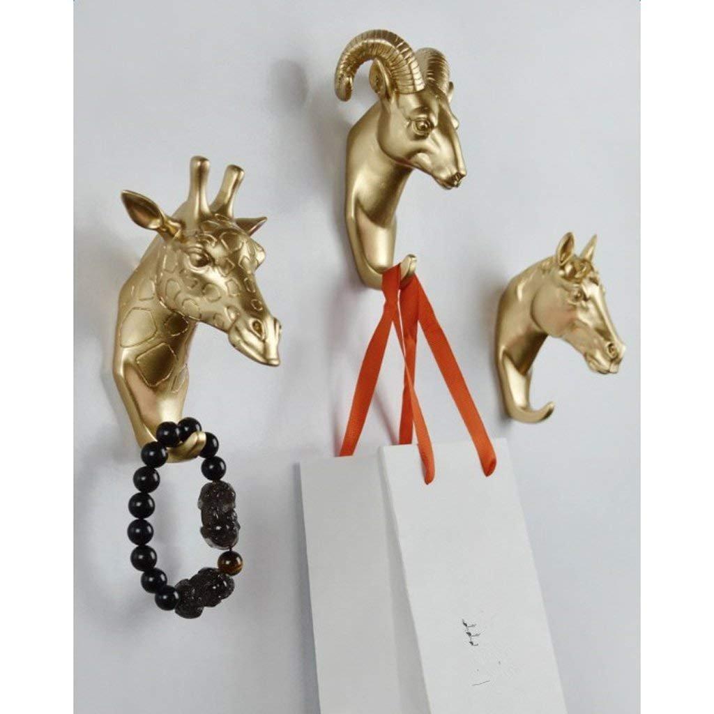 SGerste Pack 3 Vintage Resina Animal Cabeza Llave Gancho Bolsa Colgador Montado En La Pared Hogar Decorativo Dorado
