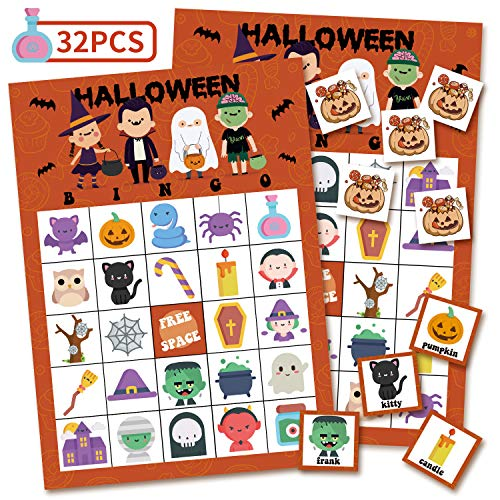 KD KIDPAR Halloween Bingo Cards Game Set for Kids and Whole Family - 32 Players, Reusable and Easy Read ...