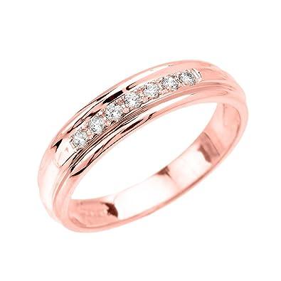 Men S 14k Rose Gold Diamond Wedding Band Amazon Com