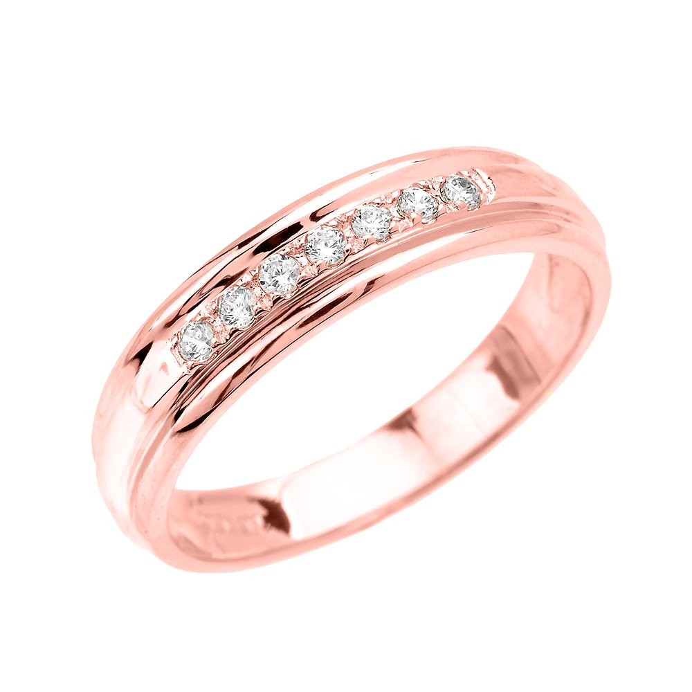 Men's 14k Rose Gold Diamond Wedding Band (Size 11.5)