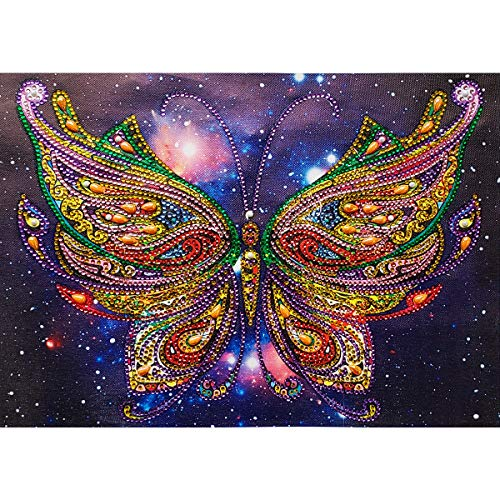 MXJSUA DIY 5D Special Shape Diamond Painting by Number Kit Crystal Rhinestone Round Drill Art Craft for Home Wall Decor 12X16In Colored Butterfly ()
