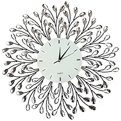 Lulu Decor, 25 Vine Decorative Metal Wall Clock, White Glass Lines Dial 9.5, Crystal Accent Clock Living Room & Bed Room