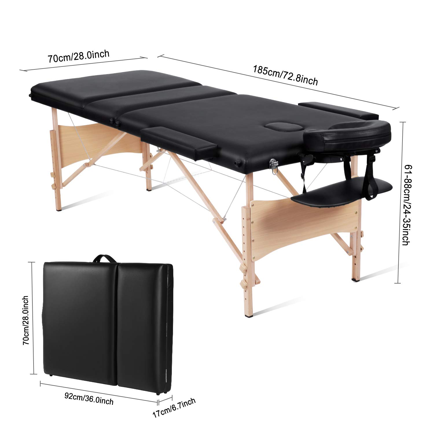 MaxKare Portable Massage Table 84'' With Carrying Bag & Accessories, 3 Fold, Extra Wide, Black