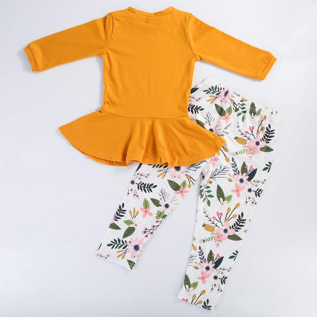 Kid Toddler Girl Long Sleeve Shirt Top Dress+Floral Pants Autumn Outfit Clothing