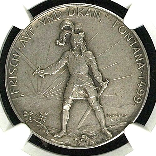 1900 CH Rare Swiss 1900 Silver Shooting Medal Graubunden coin Good