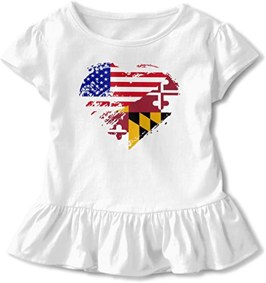 YELTY6F Heart Maryland State Flag Printed Baby Boys Girls Bodysuit Long Sleeve Outfits Black