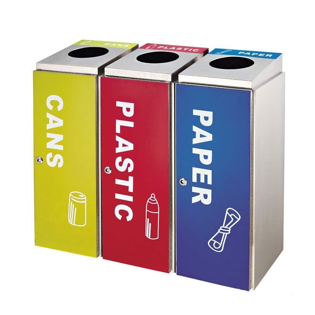 Multi-Function Triple Classification Trash Can Airport Shopping Mall in/Outdoor Dustbins Waste&Recycling Compost Paper Storage Bins (Color : Pack of 3)