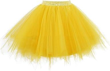 Frecoccialo Falda de Tul para Mujer Cintura Elástica Falda Plisada ...
