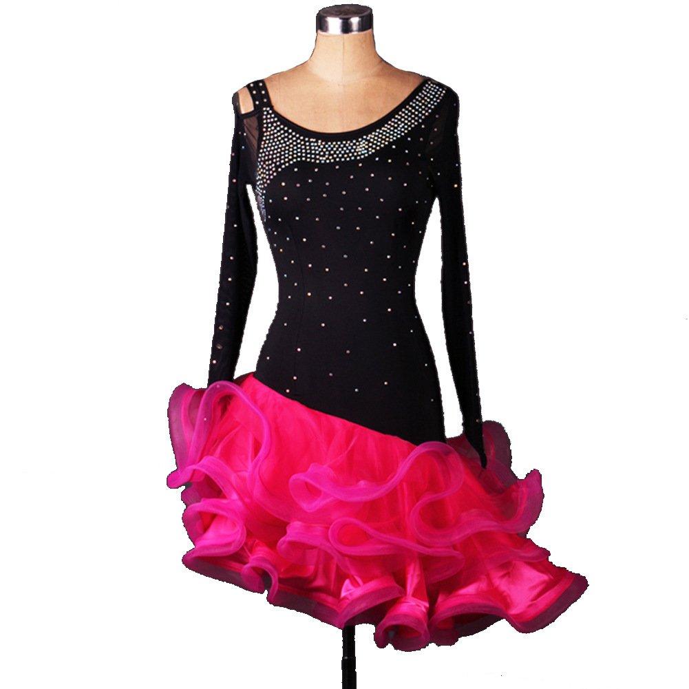 [Dance Queen]ラテンダンス衣装スカート 無料寸法をあつらえる 上品 黒 ラテンダンスワンピース 豪華ダンスドレス ワルツ専用スカート 練習用 競技用 発表会用ダンスドレス 1 ピース DQ2036 B06X3YM2T3 ブラック Large