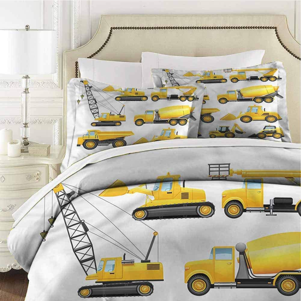 Xlcsomf Boys Bedding 3-Piece Queen Bed Sheets Set, Construction Vehicles Ultra Soft Microfiber Bedding Dorm Bedding