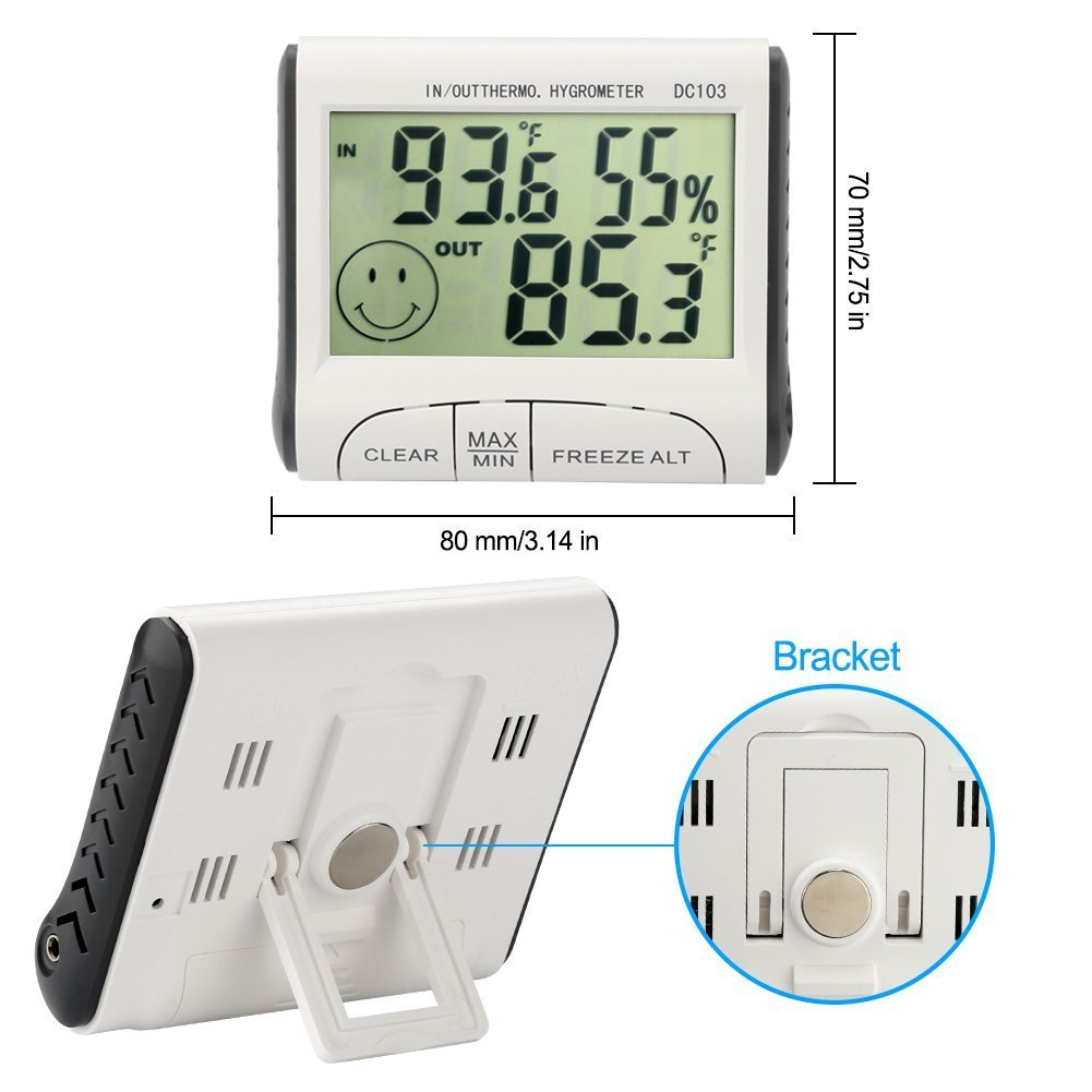 Smarthe Hygrometer Thermometer Digital Alarm Thermometer Indoor and Outdoor Humidity Monitor with Temperature Gauge Humidity Meter (DC103)