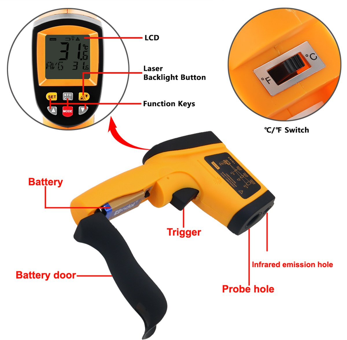 Tekit Non-Contact Laser Infrared Digital Thermometer, -50 ~ 900℃ Temperature Measuring Range, Handheld Laser Target Pointer / Backlight / Auto Power On/Off by Tekit (Image #4)